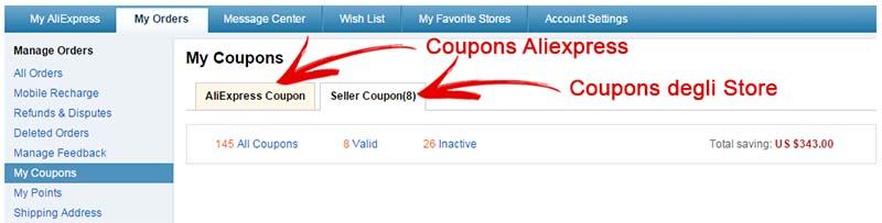 Coupons Aliexpress - Guida - Sezione My Coupons